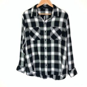 Sanctuary Black Plaid Soft Flannel Long Sleeve XS